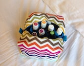 Rainbow zigzag / Blue essential oil bag, handmade.  Holds 20 bottles (for 5ml and 10ml bottles)