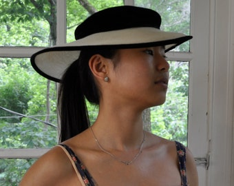 Elegant Black and White Picture Hat/Vintage 1930s/Straw and Velvet Wide Brim Hat/Wedding Garden Party/