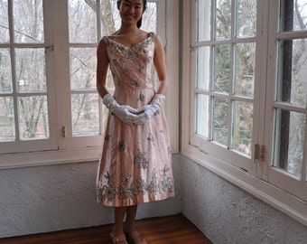 Magnificent Beaded Blush Satin Party Dress/Vintage 1950s/Size Extra Small