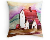 Country Home, Original Watercolour Art, Throw Pillow Case w/optional insert, Home Decor, Purple, Green, White, Unique Gift