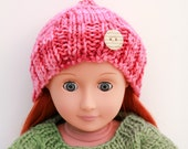 Pink Hat with Button for Fashion Dolls, Hand Knitted Hat, Handmade Doll Clothes, Winter Accessory for 18 Inch Doll, Winter Fashion for Dolls