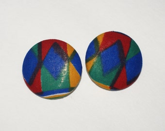 Fabric Covered Button Earrings- Multi3
