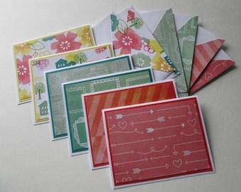 Blank Note Cards >> set of 6 Blank Note Cards, Blank Cards, Card Set, Stationery, Note Cards, Cards and Envelopes