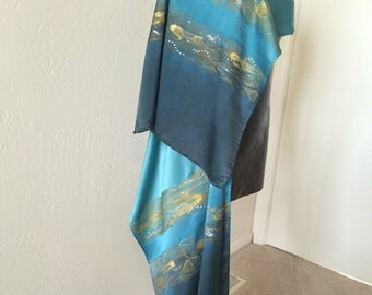 "Hand dyed and painted silk satin wrap ""Ocean"""