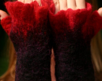 Felted mittens - wool mittens - pixie mittens - felt arm warmers - fairy arm warmers- felted fingerless gloves Reserved
