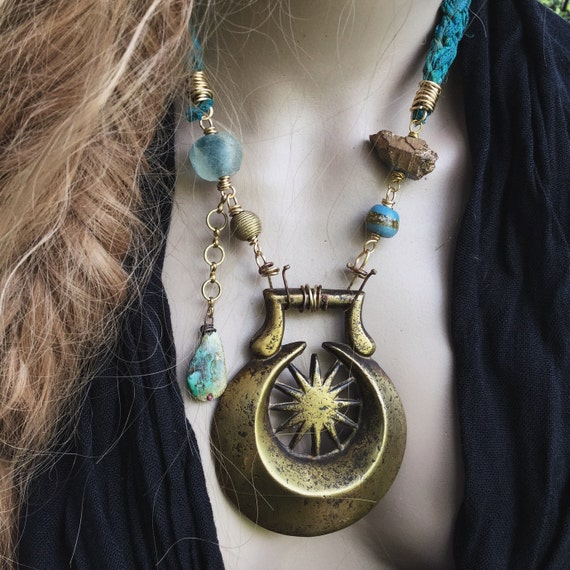 Crescent moon and sun amulet necklace   Crescent moon amulet, braided silk, gypsy necklace, statement necklace,  rustic assemblage