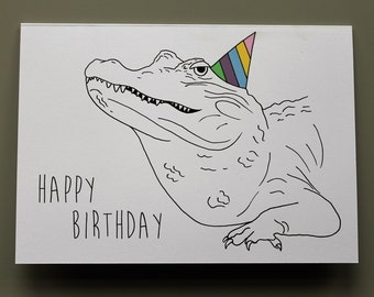 Animal Birthday Card - Crocodile - Hand drawn and printed in the UK
