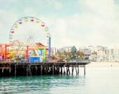 Santa Monica Pier Photography, Ferris Wheel Picture, Retro California Wall Art, Los Angeles Photograph, Beach Art Print, Seaside Photo