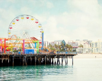 Santa Monica Pier Photography, Ferris Wheel Picture, Retro California Wall Art, Los Angeles Photograph, Beach Art Print, Seaside Photo
