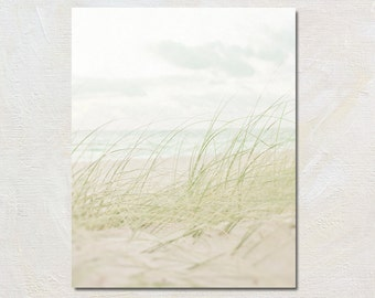 White Beach Decor, Pale Coastal Photograph, Ocean Photography, Faded Seashore Picture, Vertical Print