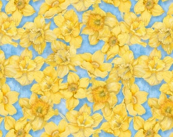Wilmington Prints - Walking on Sunshine - Daffodils All Over Lt. Blue