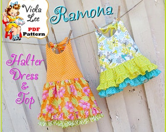 Ramona, Girl's Dress Pattern, pdf. Toddler Halter Top Dress. Girl's Sewing Pattern. Girl's Sewing Pattern, Toddler Dress Pattern. Girls Top