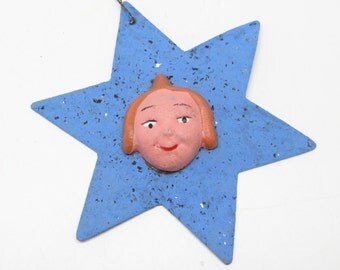 1930's German Star Christmas Ornament with Moritz, Antique, Hand Painted