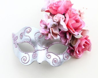 Unique Floral Silver Pink Mask or Black Purple Mask. Masquerade Masks with Flowers & Roses
