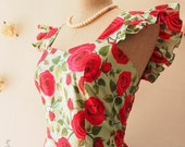 Rose Romance Ruffle Sleeve Tea Party Dress Green with Red Rose Floral Bridesmaid Dress Red Floral Spring Summer Sundress SS2016-XS-XL,Custom