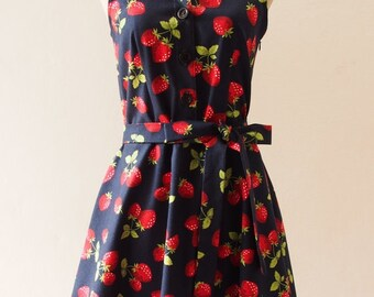 Flash Sale Ready to Ship - Navy Shirt Dress, Strawberry Dress, Halloween Dress Vintage Inspired Party Dress, Tea Dress, Summer Working Dr...