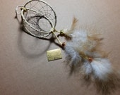 Dreamcatcher Double, Rooster Feathers, Gold, Brass and Silver Metallic Crow Beads, Light Tan Leather, 9x3inches, Sleep Better, Feel Better