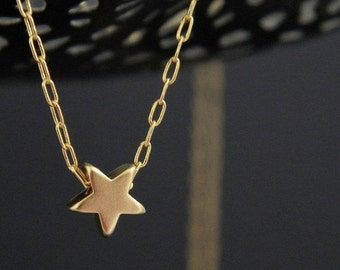 Tiny Gold Star Charm Necklace