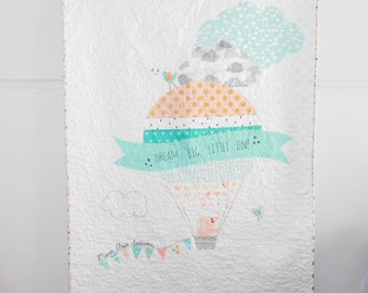 Modern patchwork baby quilt, the elephant in the hot air balloon, Dream big, crib quilt, nursery decor, nursery bedding, made to order