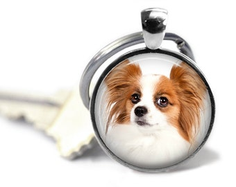Papillon Dog Pendant Necklace or Keychain