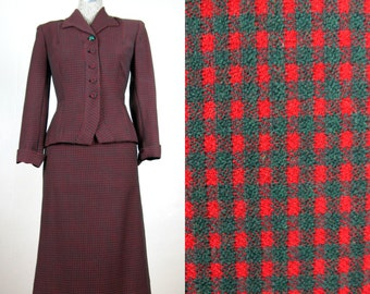 Vintage 1940s Red and Green Plaid Wool Suit 40s Skirt Suit Size 4 Small