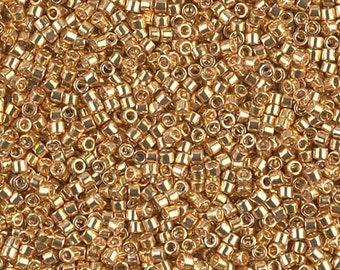 DB0410, MIYUKI DELICA BEAD, 11/0 Galvanized Yellow Gold, 5g, 10g, 15 Delica Beads DB410