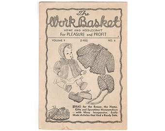 1944 Workbasket Magazine Vol 9 No 6, Forget Me Not Quilt Pattern, Baby Jacket Crochet Pattern, Baby Slipper Pattern, Snowflake Tablecloth