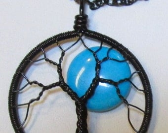 Blue Moon Wire Wrapped Tree of Life,  Blue Moon Wire Wrapped Necklace, Turquoise Moon Tree of Life