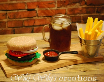 Felt Play Food Hamburger with Fries or Onion Rings and Food Tray