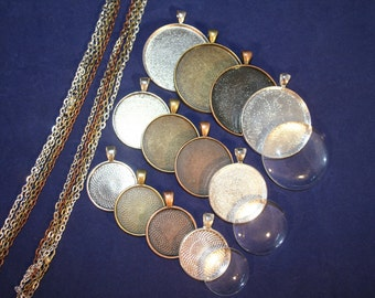 12 DIY Kits Complete Pendant Sampler kit  - 12 Blank pendants, 12 Matching glass and 12 Necklaces