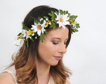 White Daisy Bridal Flower Crown Wedding Headpiece Festival Head Wreath