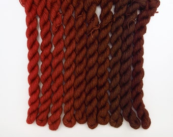 Gradient Set, Hand Dyed Fingering/Sock Knitting Yarn, Superwash Merino Wool, Silk, Cashmere, 500 Yards, Cranberry