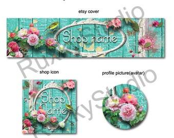 Shop Banner Set shop icon,cover/banner,avatar/profile picture - shabby chic,frame,roses,blue