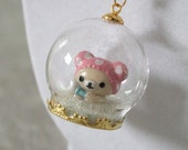 RESERVED FOR EM Custom Order Rilakkuma Relax Bear in Snow Globe Necklace Terrarium with glitter hearts, stars, snow