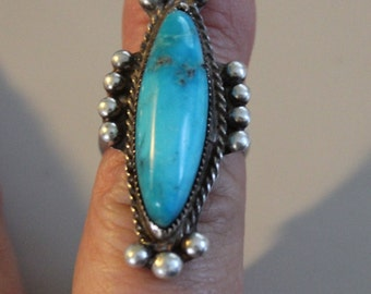 Beautiful Huge Vintage Native American Pawn Silver Blue Green Turquoise Ring Size 7