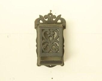 Vintage Black Cast Iron Match Dispenser Rustic Wall Mount Match Stick Holder