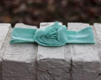 Baby/Toddler Fabric Flowered Stretchy Headband--Light Blue