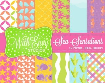 SALE  Under the Sea Digital Paper - Under the Sea Scrapbook Paper - Rainbow Digital Paper - Striped Paper - Personal & Commercial Use