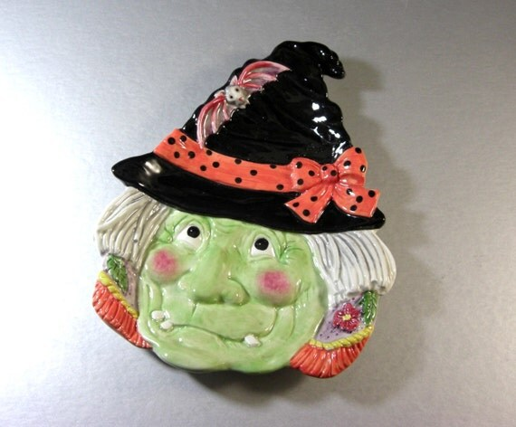 Fitz and floyd halloween classics witch snack canape plate for Fitz and floyd canape plate