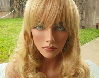 SPRING SALE - Natural Blonde Wig - Blonde Long Curly Hair - Part in Middle w/Short Bangs - Emo - Cosplay - Rockabilly - Durable