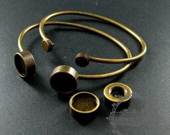 5pcs Screw Change Series 12mm setting size screwed bezel bangle bracelet antqiued bronze DIY tray supplies jewelry findings 1900156