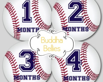 Baby Monthly Stickers Baseball Nursery Baby Month Stickers Baby Boy First Year Stickers…Favorite Baby Shower Gift - B115