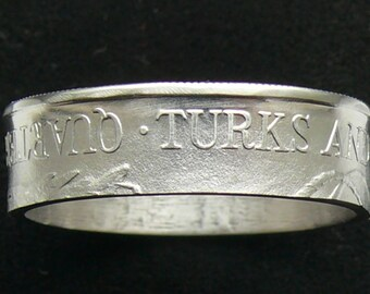 Turks and Caicos Islands Quarter Crown Coin Ring, Ring Size 9 1/2 and Double Sided