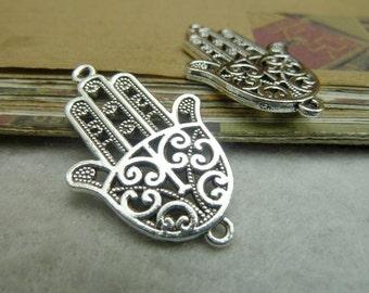 10pcs 24*38mm antique silver hamsa hand charms pendant C7248