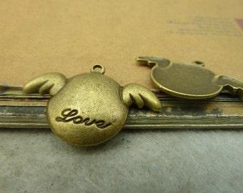 20pcs 14*24mm antique bronze love wing flyer charms pendant C4869