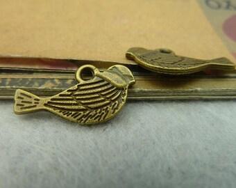 50pcs 21x11mm antique bronze bird charms pendant C3859