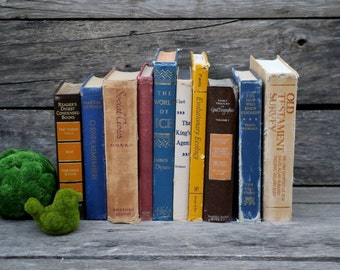 Set of 10 Vintage Books - Antique Book Decor - Photo Props - Wedding Decor - Centerpieces - Blue, Beige, Mustard Yellow, Gold Books - Old