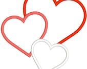 Appliqué heart embroidery design, download files, digitized embroidery design, 3 heart appliqué, embroidery machine