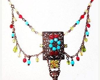 "Festoon Bib Boho Necklace Multi Color Glass Beads & Rhinestones Bronze Filigree Metal 19"" Vintage"