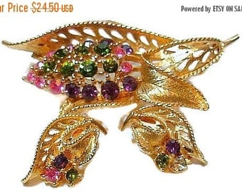 Rhinestone Brooch Earring Demi Set Green Pink Purple Gold Leaf Design High Fashion Vintage